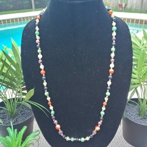 VINTAGE COLORED BEADED NECKLACE